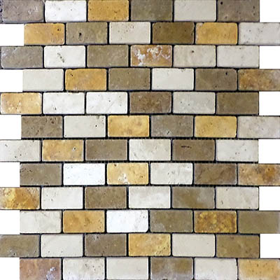 TRAVERTINE MOSAIC MIXED 1X2