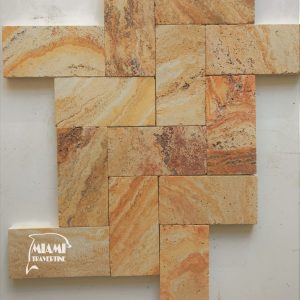 TRAVERTINE PAVER AUTUMN BLEND 6X12 01