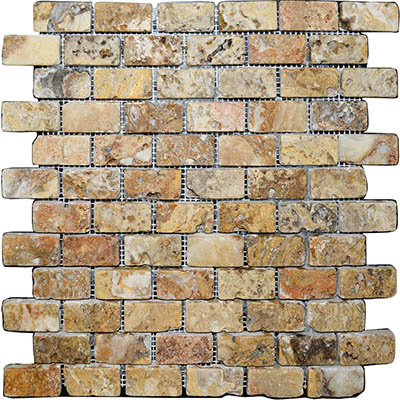 TRAVERTINE MOSAIC AUTUMN BLEND 1X2