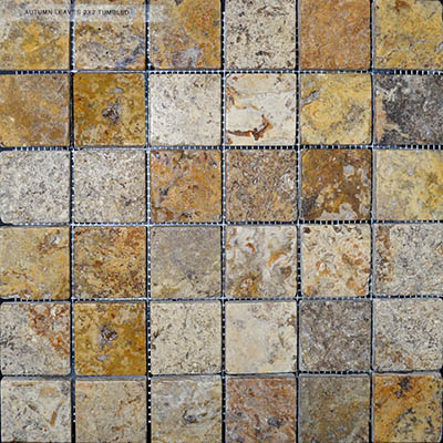 TRAVERTINE MOSAIC AUTUMN BLEND 2X2