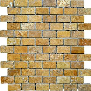 TRAVERTINE MOSAIC GOLD 1X2
