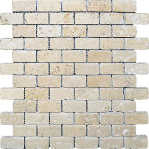 TRAVERTINE MOSAIC IVORY 1X2