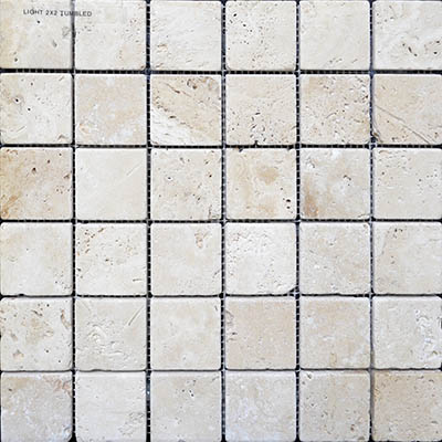 TRAVERTINE MOSAIC IVORY 2X2