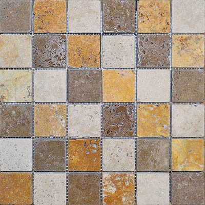 TRAVERTINE MOSAIC MIXED 2X2