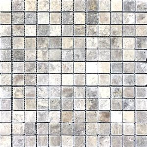 TRAVERTINE MOSAIC SILVER 1X1