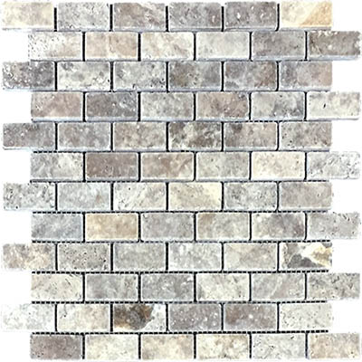 TRAVERTINE MOSAIC SILVER 1X2