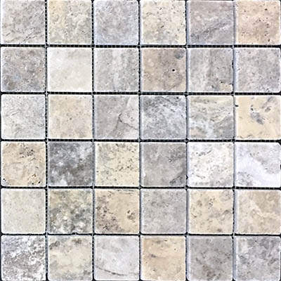 TRAVERTINE MOSAIC SILVER 2X2