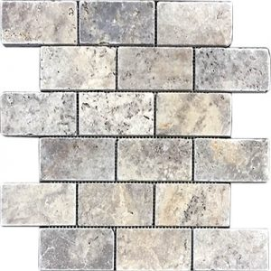 TRAVERTINE MOSAIC SILVER 2X4