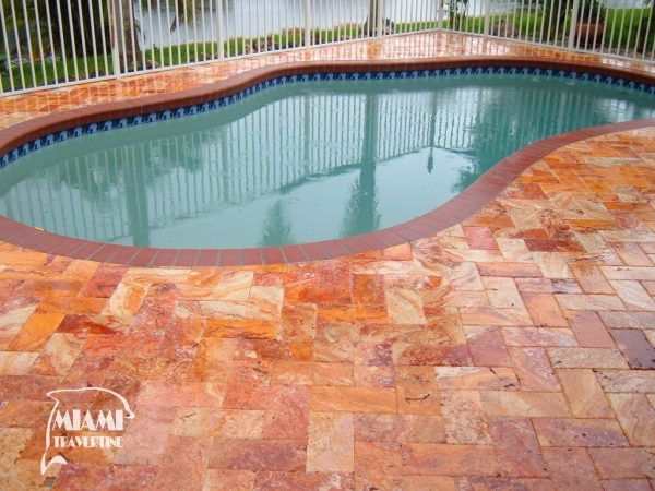 TRAVERTINE PAVER AUTUMN BLEND 6X12 05