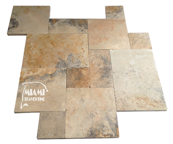 TRAVERTINE PAVER FRENCH PATTERN COUNTRY CLASSIC 01