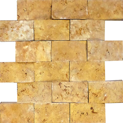 TRAVERTINE SPLIT FACE GOLD 2X4
