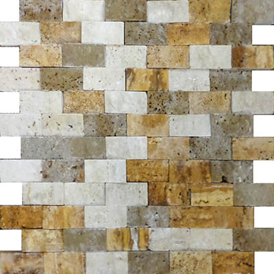 TRAVERTINE SPLIT FACE MIXED 1X2