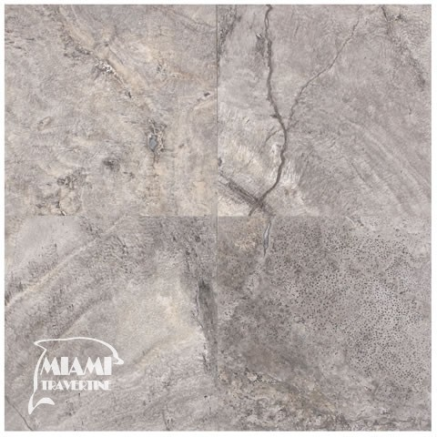 TRAVERTINE TILE FILLED HONED 18X18 SILVER 01