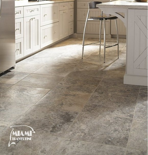 TRAVERTINE TILE FILLED HONED 18X18 SILVER 02