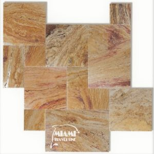 TRAVERTINE TILE FRENCH PATTERN AUTUMN BLEND 01
