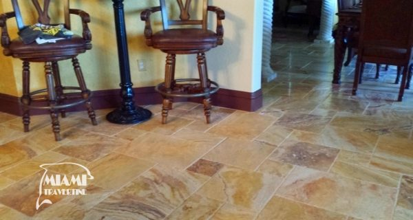 TRAVERTINE TILE FRENCH PATTERN AUTUMN BLEND 06