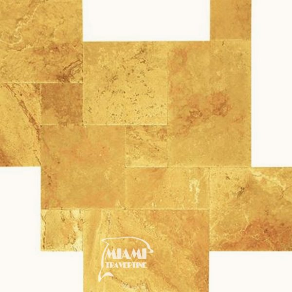 TRAVERTINE TILE FRENCH PATTERN GOLD 01