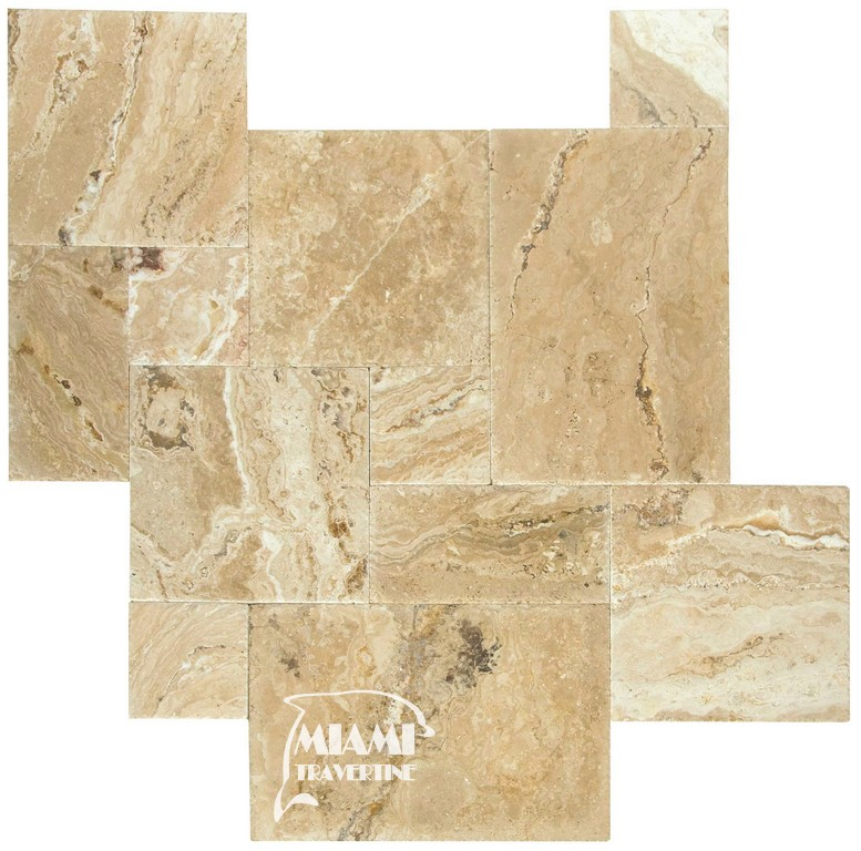 TRAVERTINE TILE FRENCH PATTERN LEONARDO 01