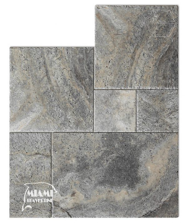 TRAVERTINE TILE FRENCH PATTERN SILVER 01